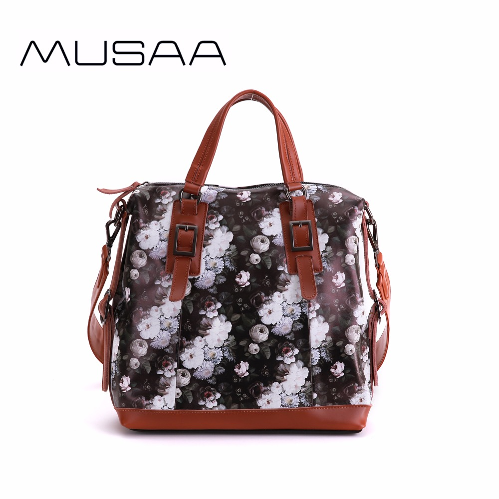 0bd7b8dd7ad8 US $99.99 |MUSAA Vintage Ladies Floral Handbag PU Leather Retro Black White  Flowers Printing Shoulder Bag for Women-in Shoulder Bags from Luggage & ...