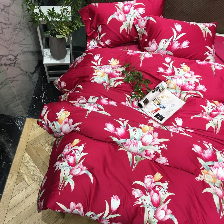 Wedding bed sheet set - Red Color Floral Bedding Set Queen King Size Wedding Bedding Soft Egyptian Cotton Floral Print Duvet