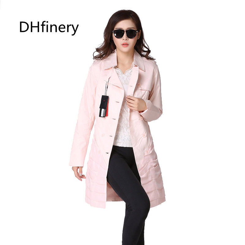 Dhfinery Trench-Coats Overwear Clothing Spring Autumn Long-Sleeve Fashion Women's Hot