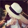 Verano Flojo de la Playa de la Paja Sombreros para el Sol Para Las Mujeres Clásico de Ancho Brim Panamá Sombrero de Paja Sombrero Chapeau Femme Paille Ete Chapeu Feminino