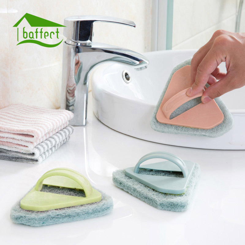 Scouring Pad with Handle Cleaning Kitchen Bathroom Tool Triangle Brush Dish Pot Bathtub Stove Household Floor Tile Dish Washing