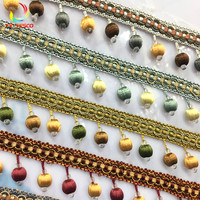 10 Yard/Lot Curtain Lace Trim Tassel Fringe DIY Beads Ball Sofa Tablecloth Lace Accessories Hanging Binding Sewing DIY