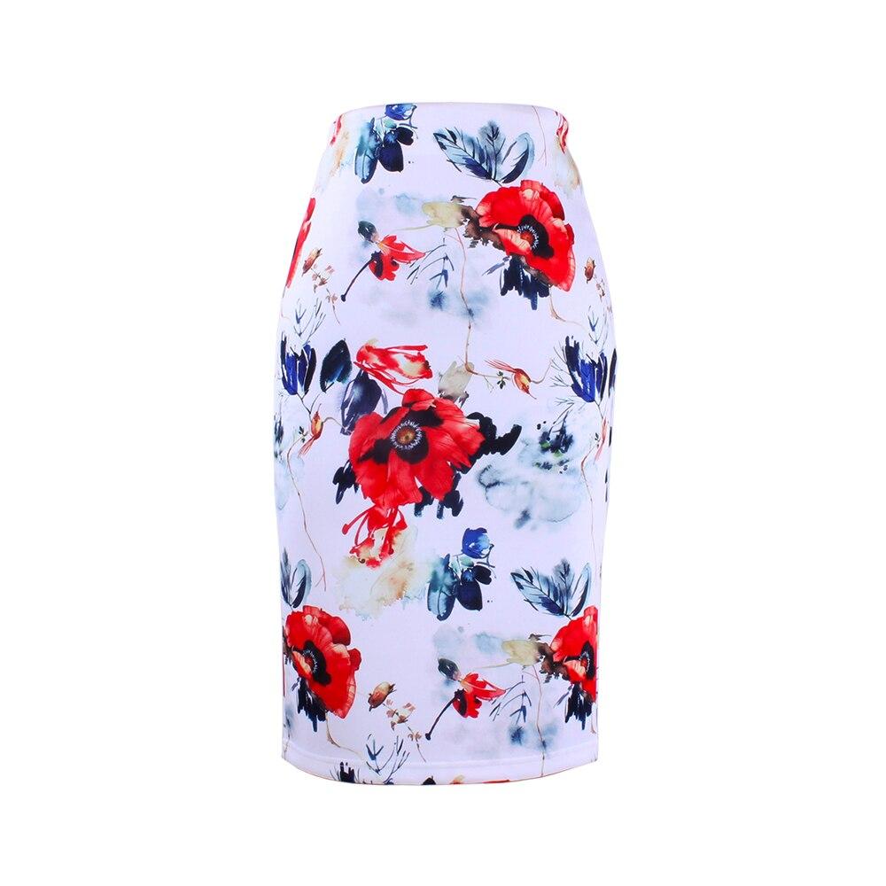 Discount sale Women bottoms flower print S-4XL lady midi saia female faldas fashion girls Pencil skirts wholesale price(China)