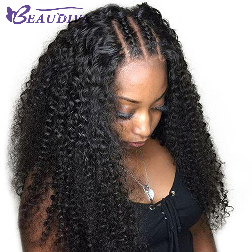 BEAUDIVA Kinky Curly Lace Front Human Hair Wigs For Women Pre Plucked With Baby Hair Brazilian