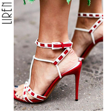 Liren 2019 Fashion PU Open Toe Thin High Heels Women Sandals Rivet Decoration Ankle Strap Buckle Shoes Party Dress Ladies Red цена и фото