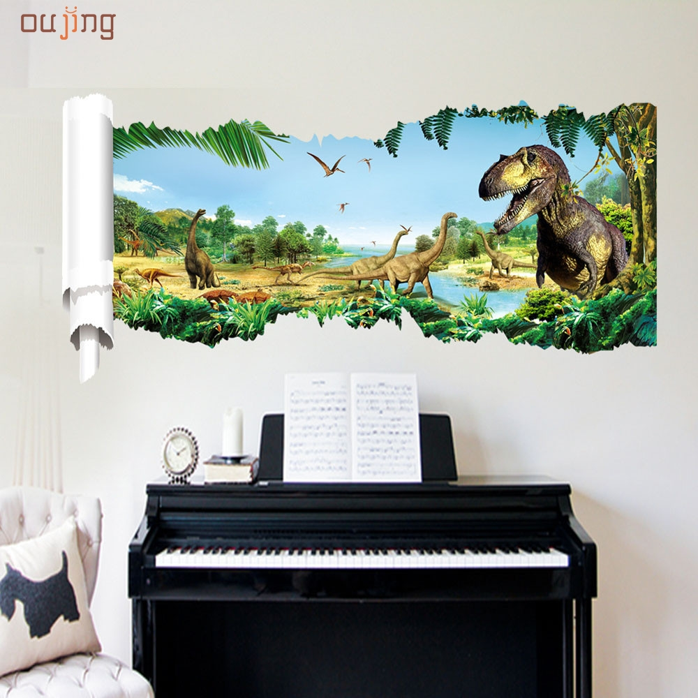 oujing happy home cartoon dinosaur world vinyl wall stickers for kids rooms boy living room diy. Black Bedroom Furniture Sets. Home Design Ideas