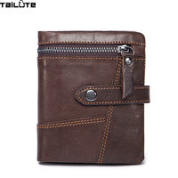 TAILUTE 100 Genuine Leather Retro Men Wallets High Quality Famous Brand Hasp Design Male Wallet Card