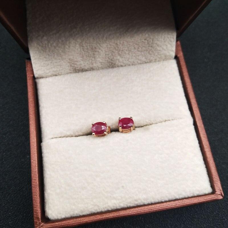 LANZYO 925 esterlina brincos de rubi naturais