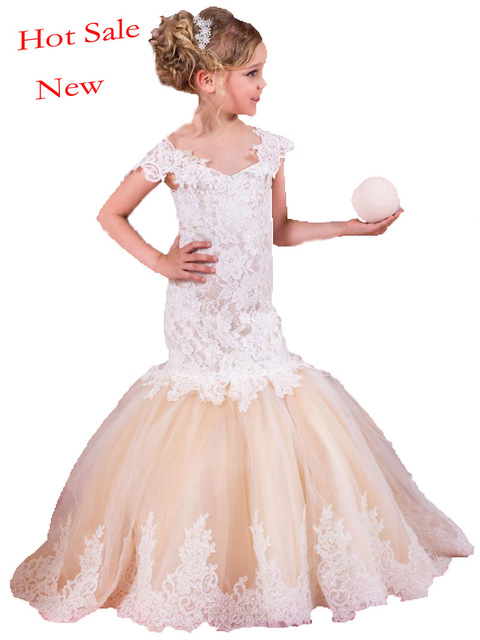 2017 Mermaid Arabic Flower Girl Dresses for Wedding Tulle Lace Champagne  Baby Girl Communion Dresses Children Girl de2878a8e