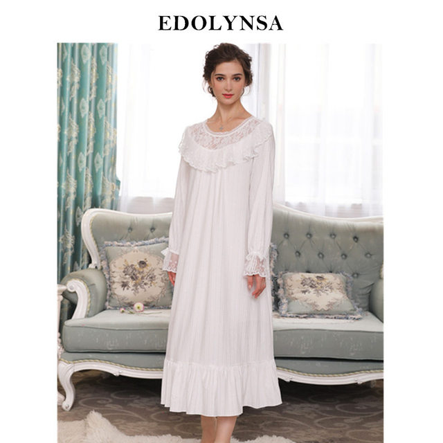 Autumn Winter Sleepwear Women Nightgowns Long Sleeve Nightdress Plus Size  Slash White Lace Flare Sleeve Cotton Robe Dress H716 51ba50739