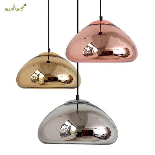 Hanging Light Up Mirror: Modern Bowl Mirror Lamps Glass LED Pendant Light Void Lamp