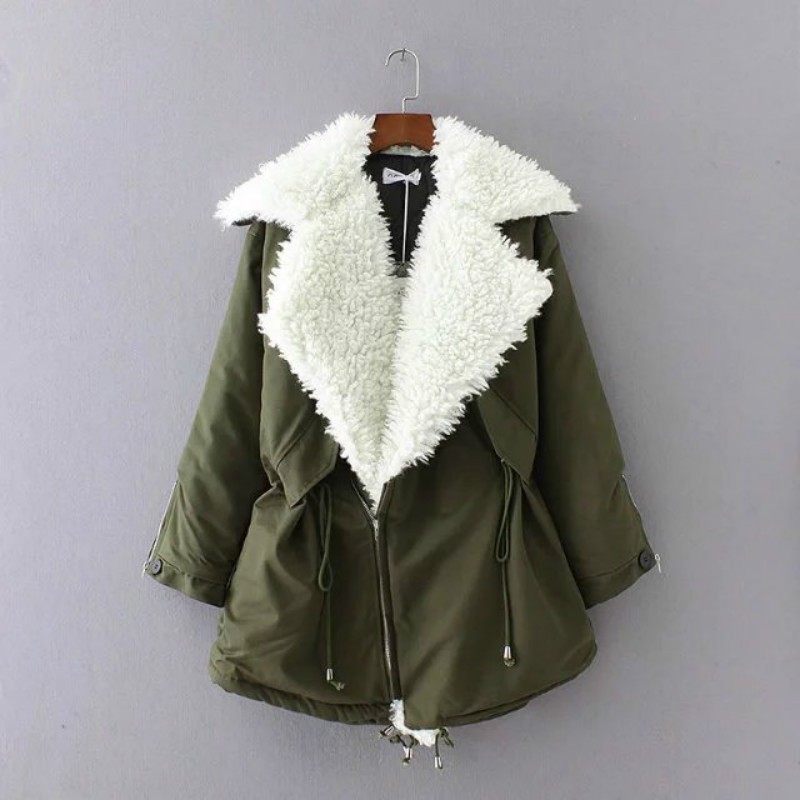 2017 autumn and winter Europe and the United States wind loose large lapel lambs pull rope cotton jacket coat europe and the united states long sleeve hooded keep out the cold winter to keep warm and comfortable cotton coat
