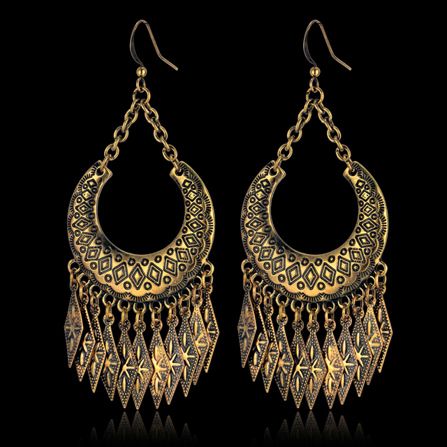 bfff1c16891 Indian Style Earings Fashion Jewelry Wholesale Gold Color Big Tassel  Earrings Brincos Accessories Drop Earrings For Women Gift