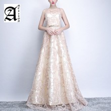 Ladies Sleeveless Party Banquet Champagne Floor-length Long Formal Gown  Women Elegant Evening Dresses