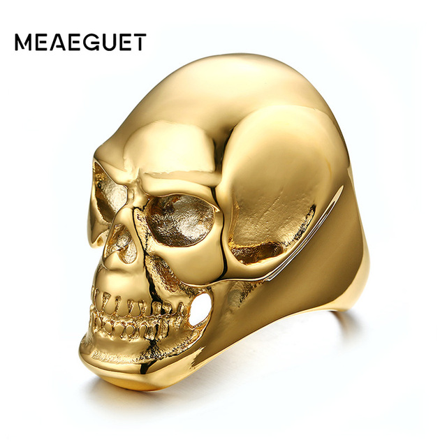 Meaeguet 41mm Skull Punk Rings Classic Big Gold-Color Stainless Steel Men Ring For Men Skeleton Head Party Jewelry USA Size