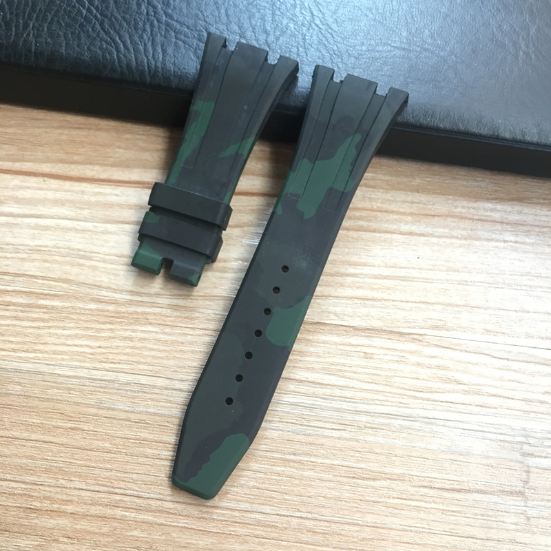 Image 4 - 26mm High Quality Camo Gray White Black Blue Brown Green silicone Rubber Watch Band deployment Clasp For AP  Royal Oak BraceletWatchbands   -