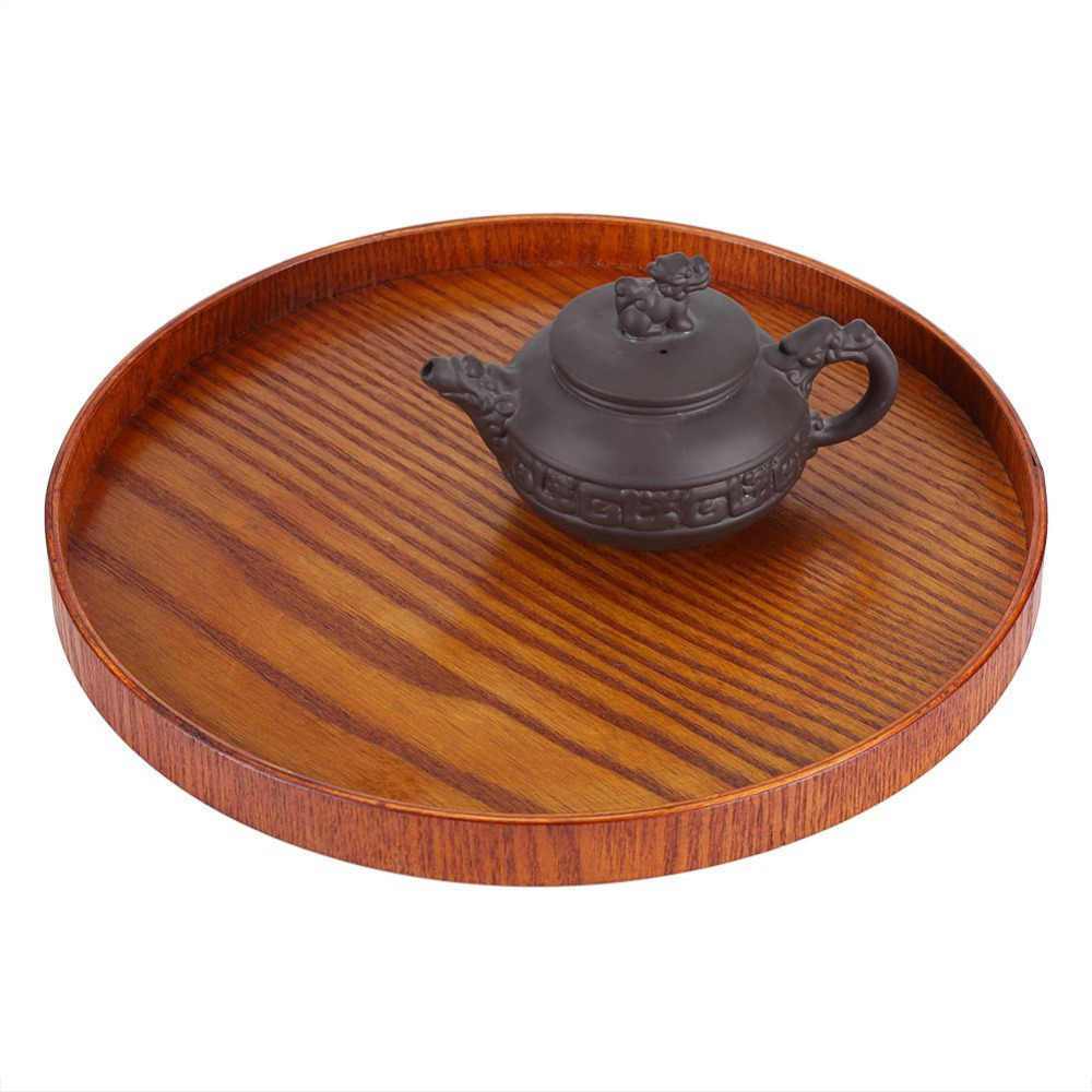 Round Natural Wood Serving Tray Wooden Plate Tea Food Server