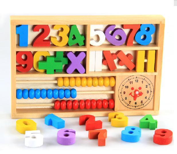 Baby Toys Wooden Numbers and Math Signs with Abacus in Box Educational Toys Montessori Toysgift