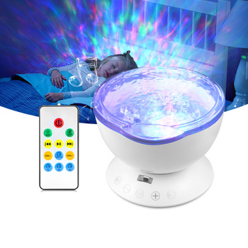 USB Night Light Multicolor Romantic Ocean Wave Starry Sky Aurora Projector with Mini Music LED Lamp foco led usb