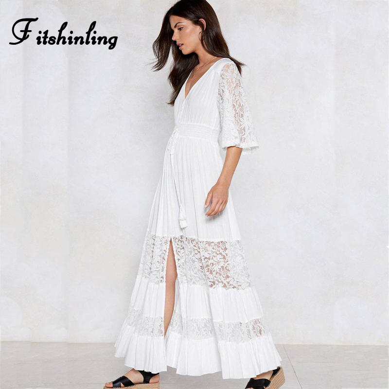 a83412f17e Fitshinling Patchwork lace white long dress bohemian v neck tassel slit  sexy hot maxi dresses for