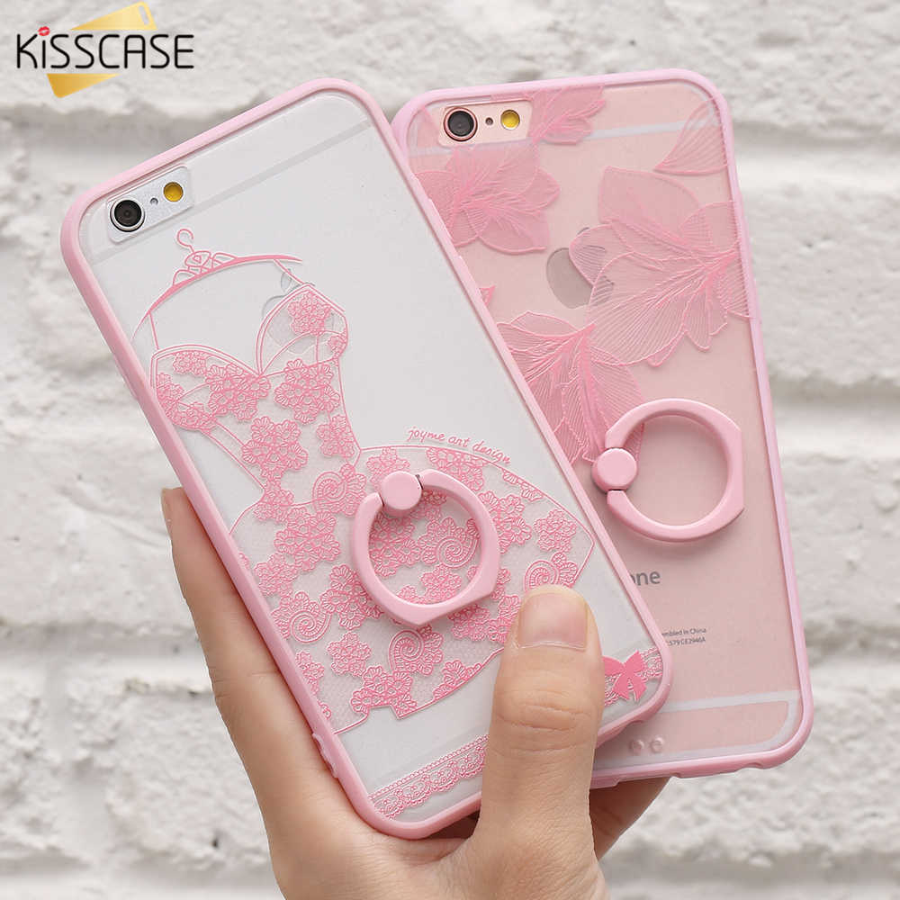KISSCASE Lace Phone Case for iPhone 6 6S Plus Ring Holder Ba