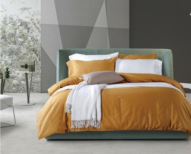 Luxury 100% Egyptian Cotton Sheets Solid Yellow Bedding Set King Queen Size Quilt  Duvet Cover