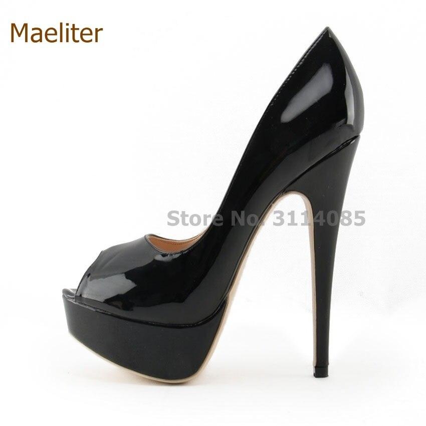 Style classique Noble dames noir Nude en cuir miroir plate-forme pompes 14 cm ciel chaussures à talons hauts bout ouvert chaussures à talons hauts