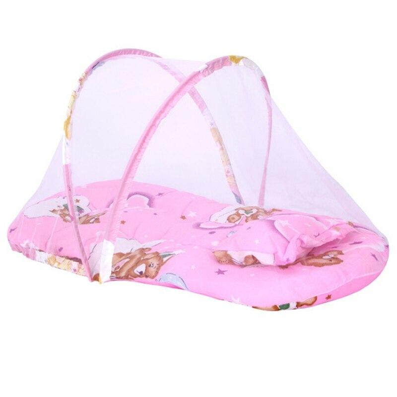 3 Pcs Baby Mosquito Insect Cradle Netto Met Draagbare Vouwen Luifel Kussen Baby Beddengoed Zomer Accessoires Baby Matras
