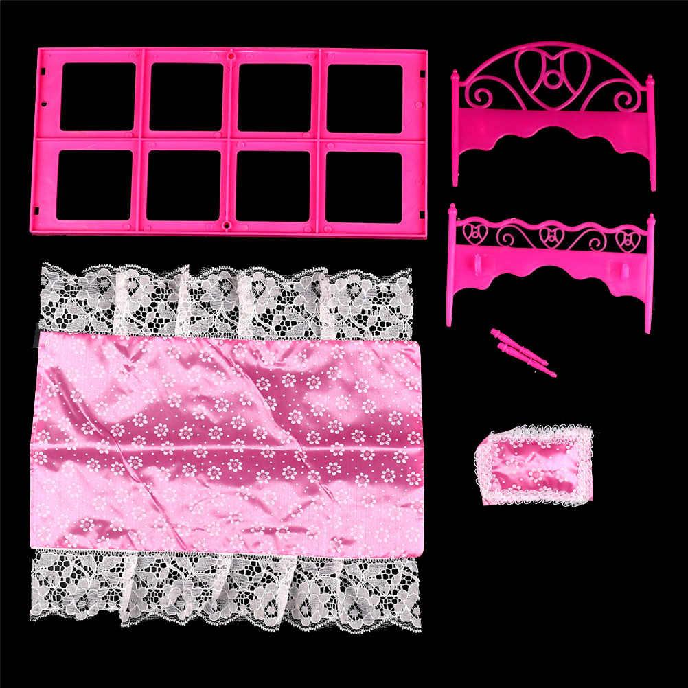 Accesorios para regalo de cumpleaños para niñas, 1 Uds., muñecas para niñas, juguetes rosas, cama de encaje para Casa de muñecas Barbie, muebles de por vida