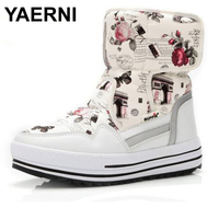 YAERNI New Arrival Lightweight Waterproof Women Mid Calf Snow Boots Non Slip Warm Thickening Cotton Shoes