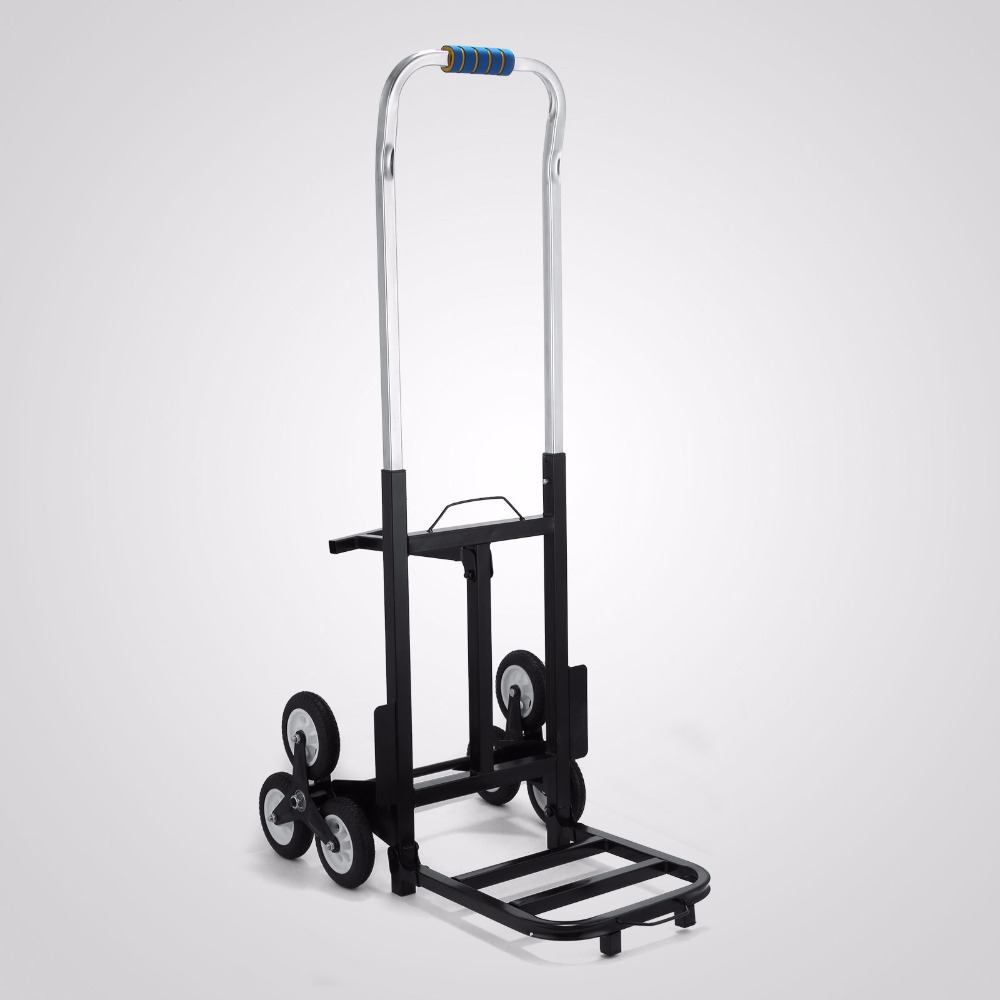 Adjustable Hand Truck Cart Six Wheeled Stair Climbing,190KG TRI WHEEL BARROW STAIR CLIMBING SACK TROLLEY stair climbing sack trolley unique wheel designed with carbon steel material 6 wheeled stair climbing folding hand trolley