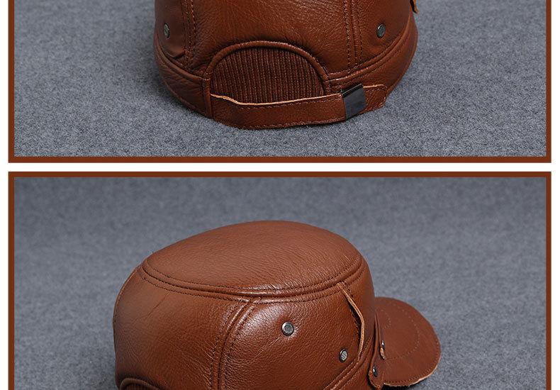 Men\'s Leather Hat - warm winter baseball cap - Korean fashion outdoor peaked cap _22