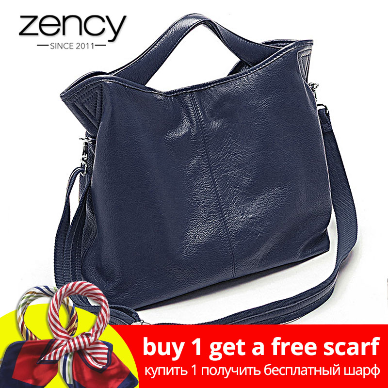 Zency Engros Fashion Women Handbag 100% Ægte Læder Damer Casual Tote Bag Charm Shoulder Messenger Classic Satchel Purse