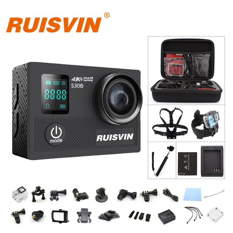 Original RUISVIN S30B Action Camera 4K WIFI Full HD 1080P 60FPS 2.0 LCD 30M Diving Go Waterproof Pro Camera Ultra HD Sports DV battery dual charger bag action camera eken h9 h9r 4k ultra hd sports cam 1080p 60fps 4 k 170d pro waterproof go remote camera