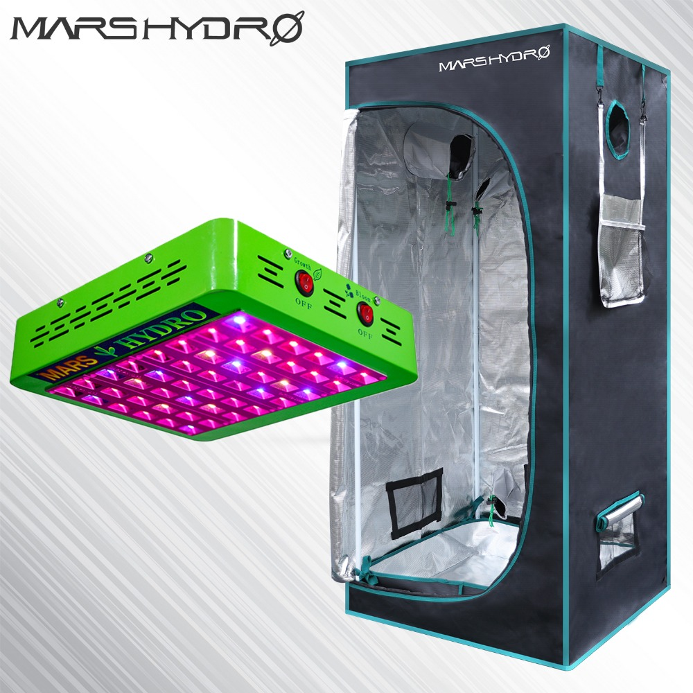 Mars Hydro Full Spectrum Reflector 240W LED Grow Light & 1680D 70 * 70 * 160 Grow Telt, Hydroponics lampe