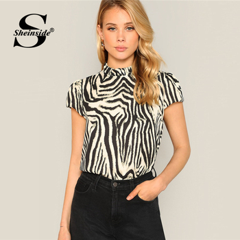807265ed955 Product Offer. Sheinside Элегантный принт с полосками зебры топ Для женщин  2019 женские офисные Ruched блузка стоячий воротник ...