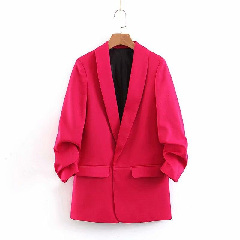 WT218 New Autumn Chic Hot Pink Color Pleated Sleeve Brief Blazer Office Ladies Elegant Blazers Coat