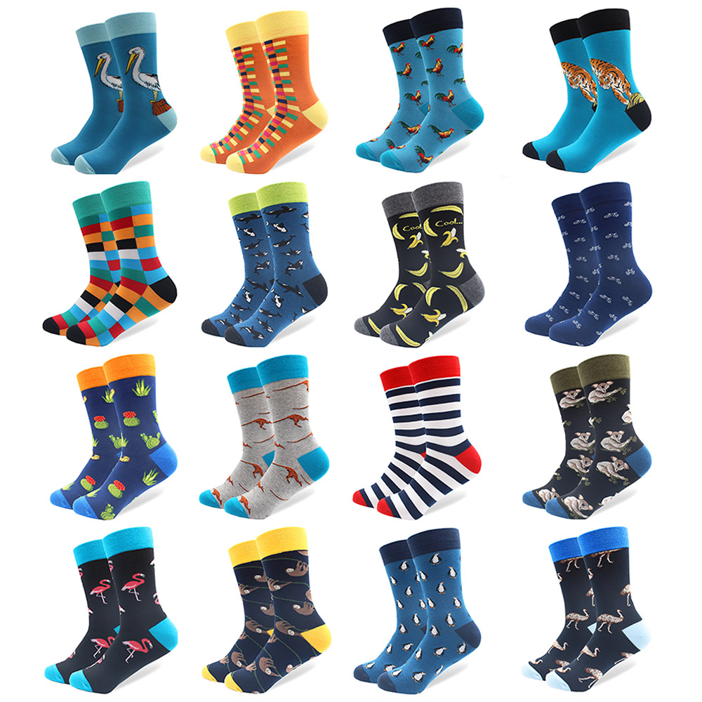 1 Pair Funny Combed Cotton Brand Men's Crew   Socks   Novelty Tiger Koala Kangaroo Pattern Colorful Dress Causal Wedding   Socks