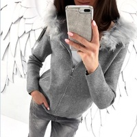 New Autumn Winter 2017 Warm Coat Casual Long Sleeves Pocket Jacket Knitted Zipper Gray Black Hooded