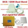 Display LCD DCS 1800 MHz + GSM 900 Mhz Dual Band Móvel Reforço de Sinal de telefone Celular Amplificador Repetidor de Sinal GSM DCS + antena