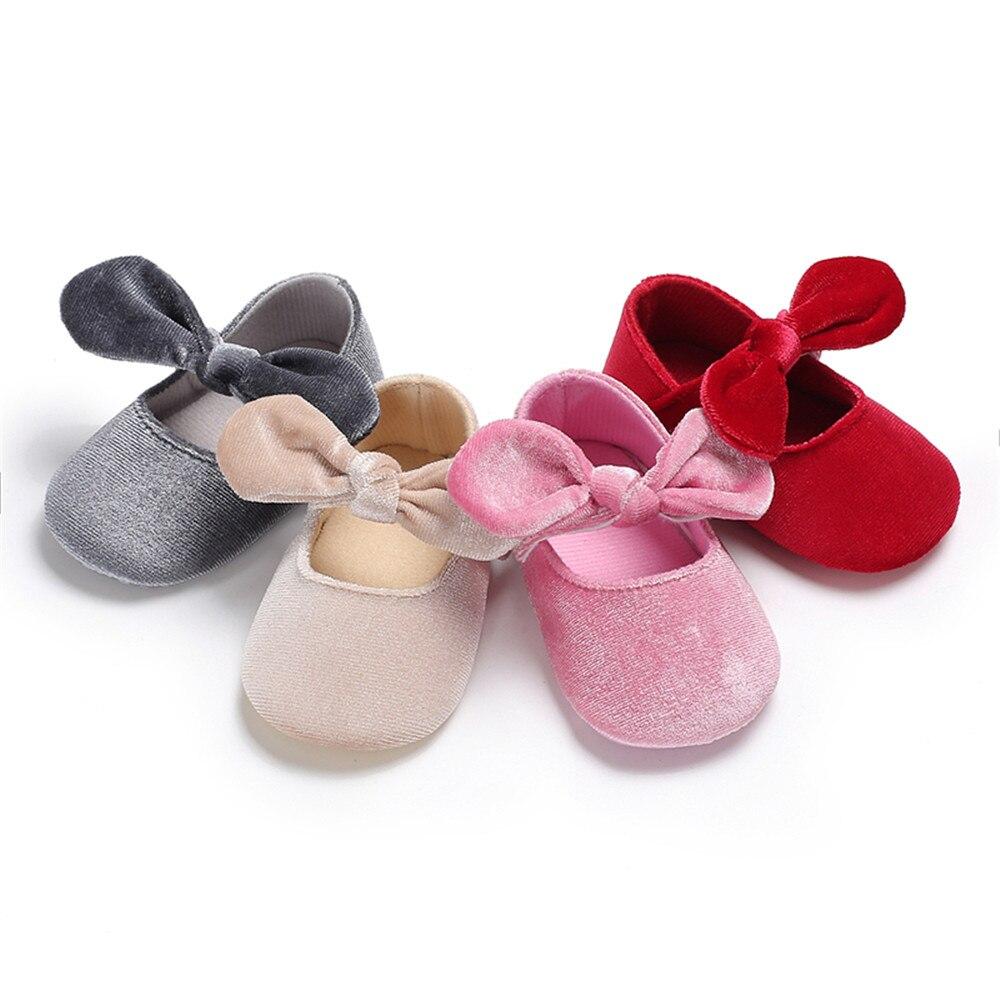 2Pcs Elastic Band Baby Girls Shoes Soft First Walker Insoles Anti-Slip Shoe Solid Color Wedding Princess Prewalker Crib Shoes