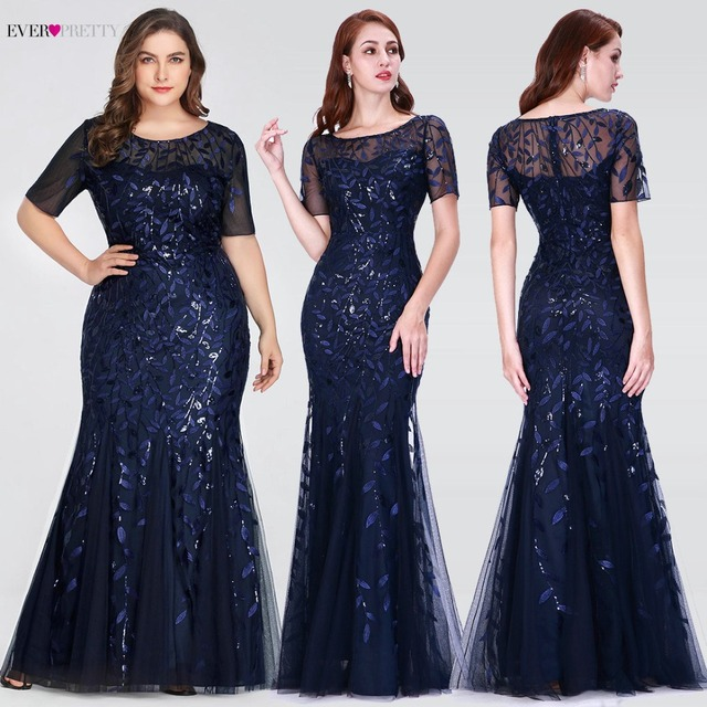 Plus Size Saudi Arabia Prom Dresses 2019 Ever Pretty EZ07707 Short Sleeve Lace Appliques Tulle Mermaid Long Dress Party Gowns 1