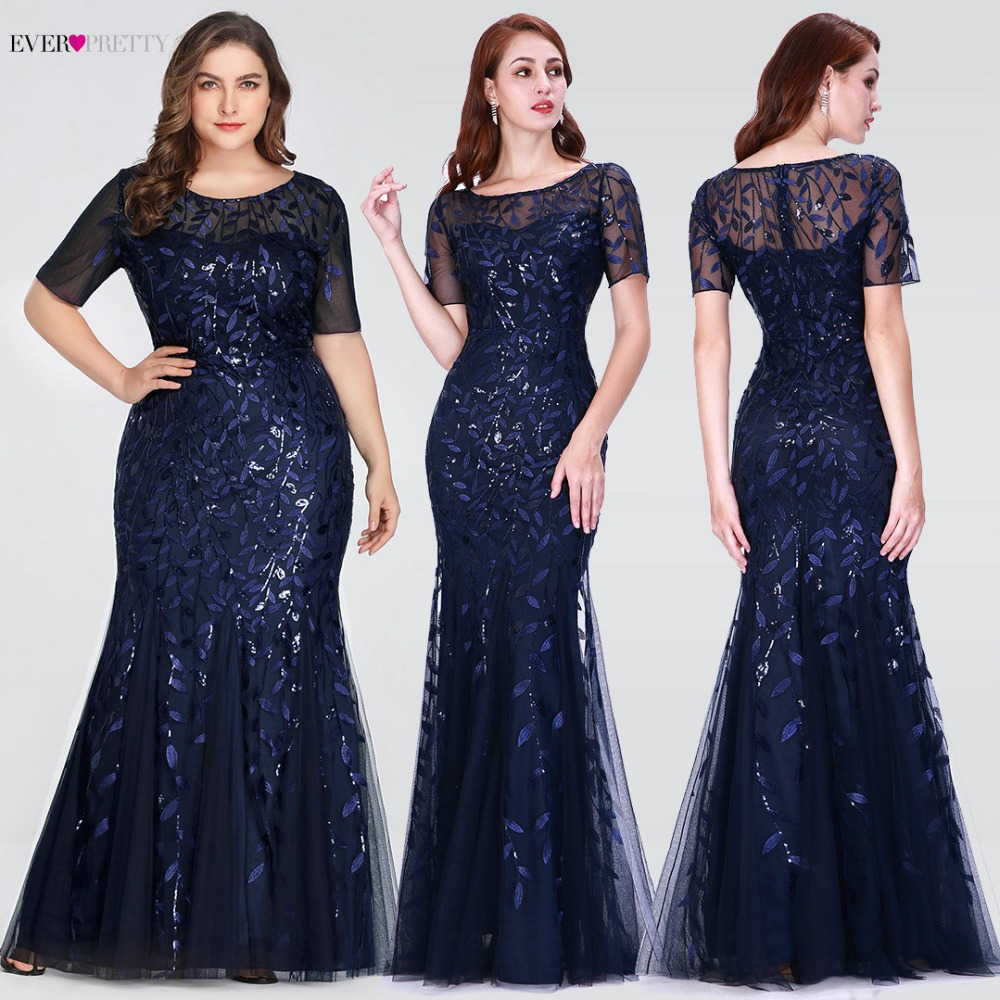 5941413aa9892 Plus Size Saudi Arabia Prom Dresses 2019 Ever Pretty EZ07707 Short Sleeve  Lace Appliques Tulle Mermaid Long Dress Party Gowns