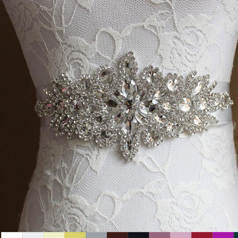 Women Wedding Decoration Sash Elegant Rhinestone Satin Ribbon Bridal   Belt   Party Bride Bridesmaid Dress Cummerbunds Waistband