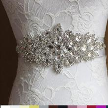 Women Wedding Decoration Sash Elegant Rhinestone Satin Ribbo