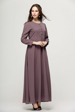 New Long Sleeve Muslim Womens Dresses O Neck ankle Length Islamic HijabTurkish Malaysia Dubai Saudi Arabia
