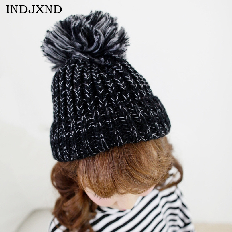 YSDNCHI 2017 Winter Colorful Knit Thick Wool Ball Mixed Woven Wool Hat Warm Men Women Lovely Couples Knitted Hats Women Skullies hat winter thick stickers letter knitted hat wool hat korean embroidery warm hats tide men and women
