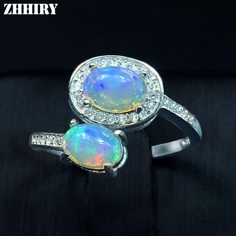 Takı ve Aksesuarları'ten Halkalar'de Hakiki Opal Yüzük Yangın Taş Katı 925 Ayar Gümüş Doğal Renkli Taş Kadın Güzel Takı ZHHIRY'da  Grup 1