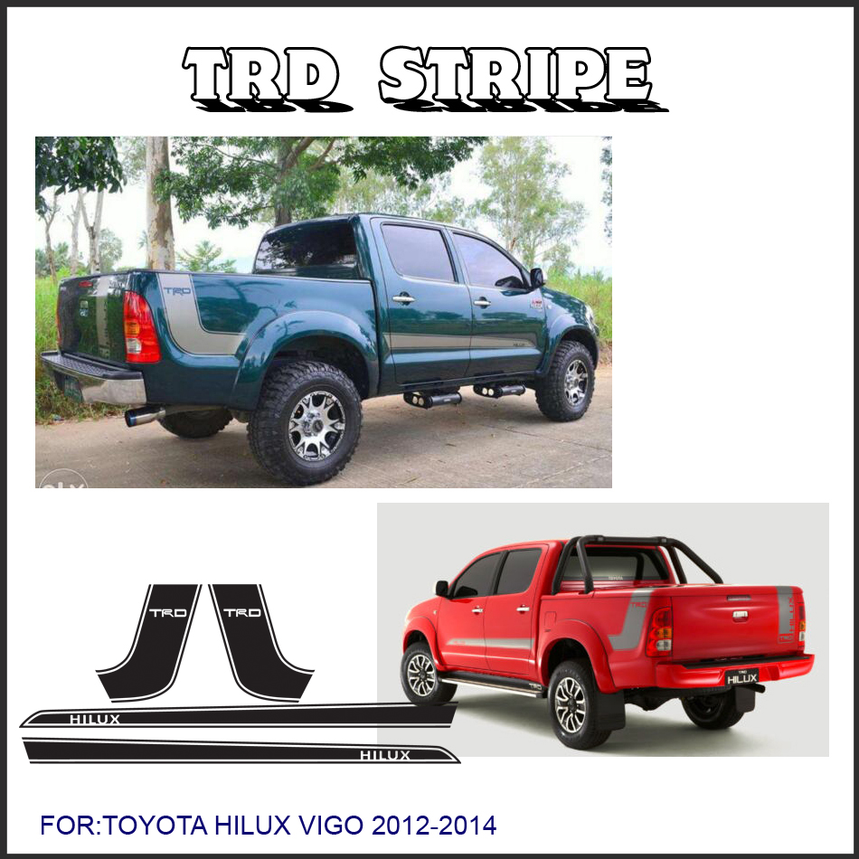 free shipping 4 PC hilux side stripe graphic Vinyl sticker for TOYOTA HILUX decals free shipping 2 pc gradient side stripe graphic vinyl sticker for dacia logan pickup sticker
