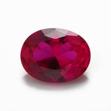 Tamanho 3x5mm ~ 13x18mm formato oval, corindo sintético, gemas, rubi para fabricação de jóias 5 #3 #8 #
